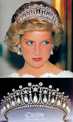 """图:戴安娜王妃在婚礼上所佩戴的著名""""珍珠泪""""王冠-王室珠宝人人"""