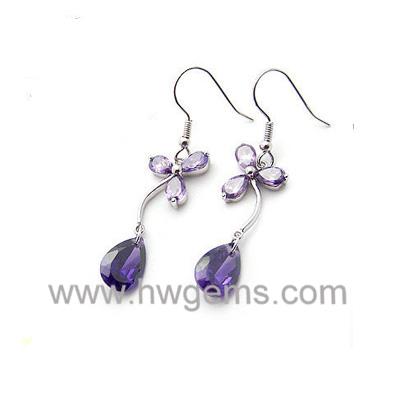 紫色迷人花朵耳环 神秘紫色 圣诞必备饰品