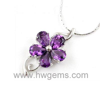 紫色花朵宝石镶嵌吊坠