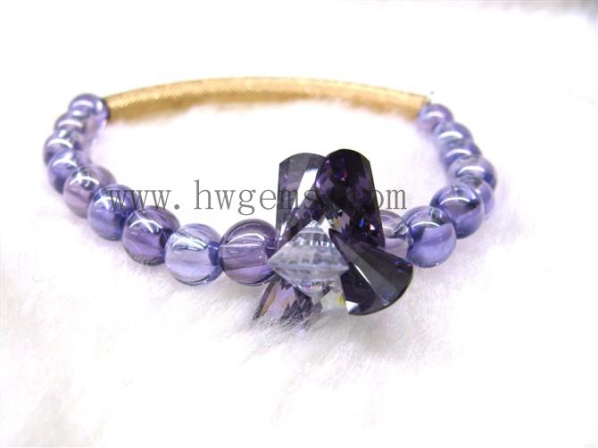 紫色锆石迷人手链 圆珠手链